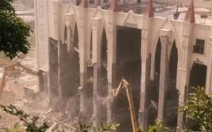 The destruction of Sanjiang church in Wenzhou Source