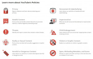 Categories in Youtube's policy centre