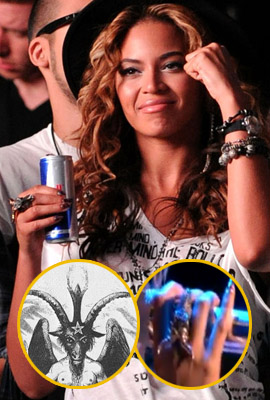 Beyonce sporting a Baphomet-style ring Source