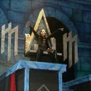Marilyn Manson on an all-seeing eye shaped throne? Source