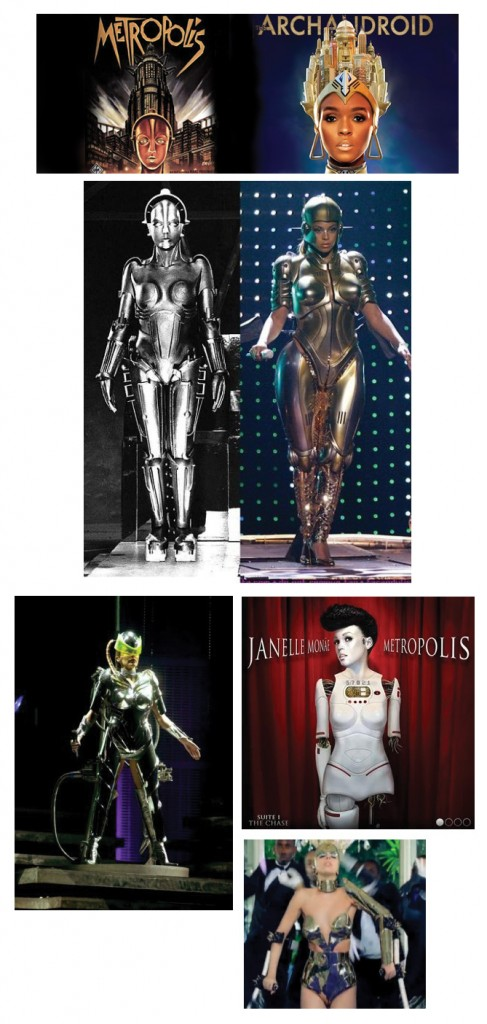 "Female pop stars portraying the character of ""Evil Maria"" from Metropolis Source"