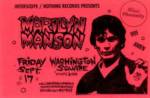 Richard Ramirez, a Satanist who drew upside down pentagrams on his victims, promoted in a Marilyn Manson poster Source