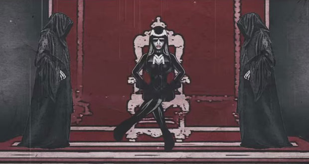 "Nicki Minaj depicted as a dictator and flanked by figures of darkness in a still from the videoclip from her song ""Only"" Source"