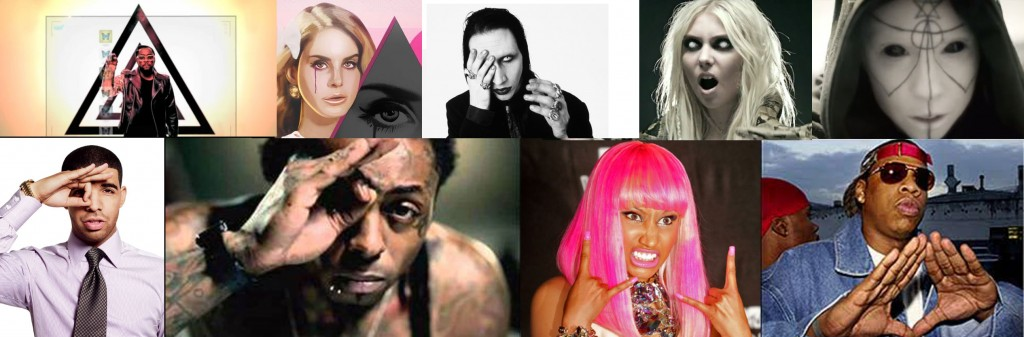 A selection of Interscope artists with some familiar symbology or looking demonic