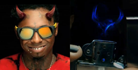 "Subliminal images of Lil Wayne as a demon and demon head in lighter flame from his ""Love Me"" clip"