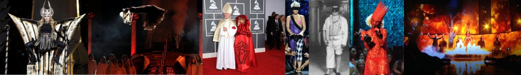 From left to right: Madonna's superbowl performance reminiscient of Baphomet, Nicki Minaj being exorcised and possibly dressed as a Scarlett Woman at the Grammy's, comparison between Pink's Grammy performance and freemason 1st degree ritual (notice the masonic checkerboard on Pink's tights), Lady Gaga after her performance at the same awards as Pink which many interpreted as a blood sacrifice, Katy Perry's Dark Horse Grammy performance, watched over by four demons. Click to see full size.