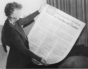 Eleanor Roosevelt holding Human Rights declaration