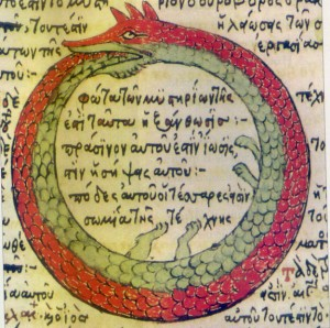 A classic depiction of Ouroboros, signifying eternal return