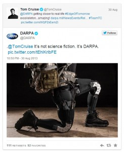Tweets between Tom Cruise and DARPA. Image from: Gizmodo
