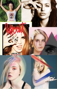 From top to bottom: Angelina Jolie, Lana Del Ray and Elle Fanning with Illuminati symbolism
