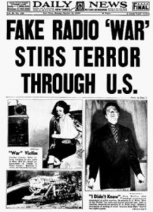 A news report following Orson Welle's broadcast of War of the Worlds Source ???