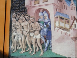 Painting showing the expulsion of the Cathars