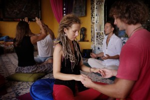 Small meditation group in Bali